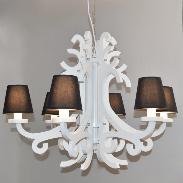 product image for SIX ARM WHITE CHANDELIER